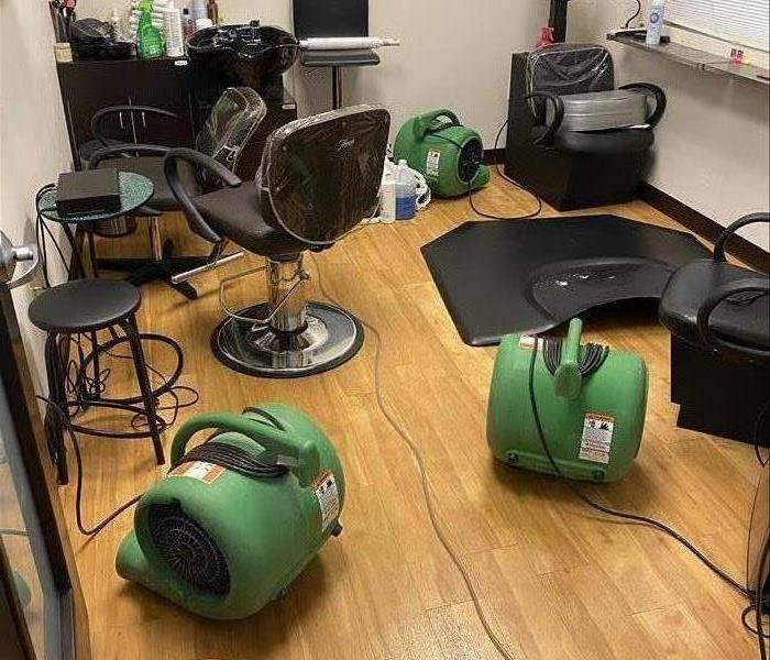 Salon Suite with water drying equipment after a loss