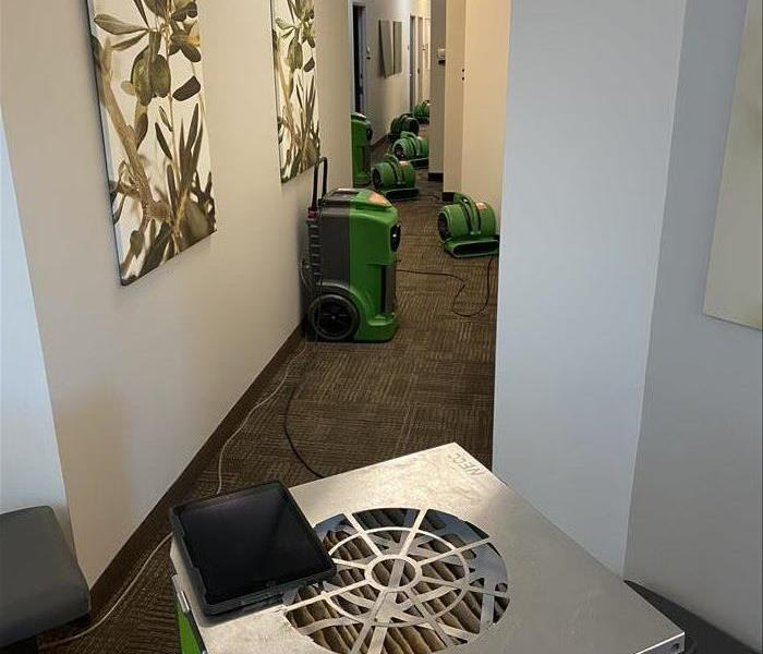 Flooded Hallway with Drying Equipment